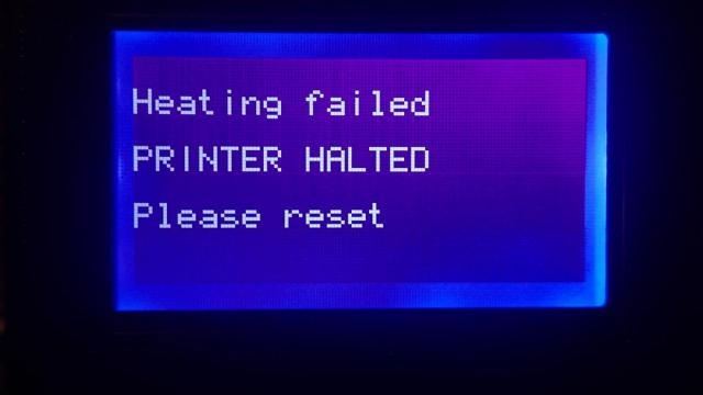 Heating failed PRINTER HALTED Please reset