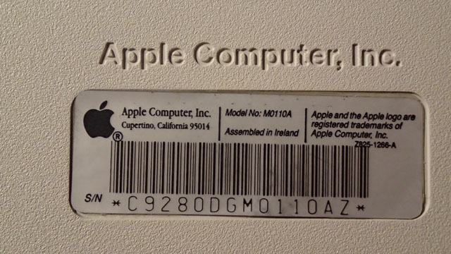 Apple M0110A serial number