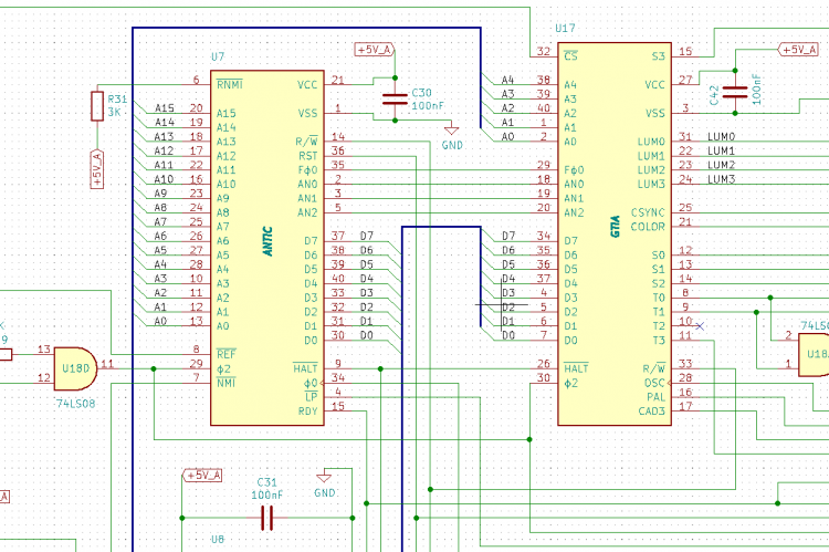 KiCad schematics ANTIC and GTIA chip