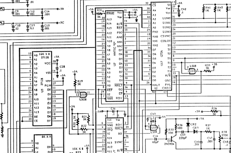 Part of original schematics of the Atari 800XL computer