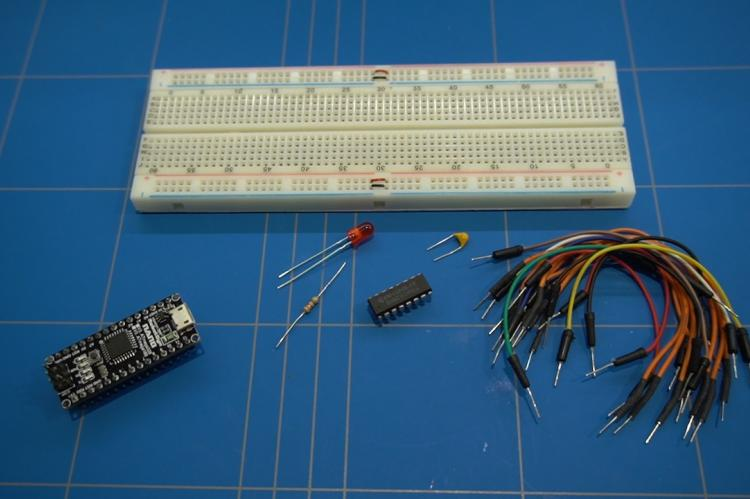 Breadboard with components